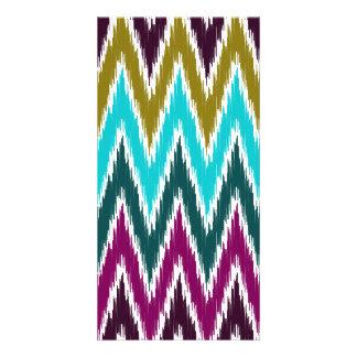 Purple Teal Ikat Chevron Zig Zag Stripes Pattern Personalized Photo Card