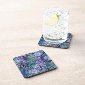 Purple & Teal Jungle Flowers Drink Coaster