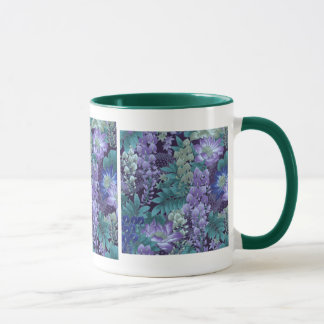 Purple & Teal Jungle Flowers Mug