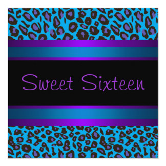 Purple Teal Leopard Sweet 16 Birthday Party Card