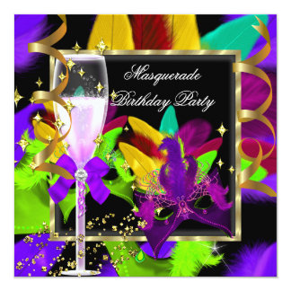 Purple Teal Lime Yellow Masquerade Party Birthday 13 Cm X 13 Cm Square Invitation Card