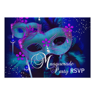 Purple Teal Masks Masquerade Party RSVP Personalized Invite