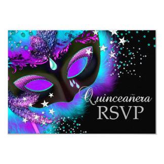 """Purple & Teal Masquerade Quinceanera RSVP 3.5"""" X 5"""" Invitation Card"""