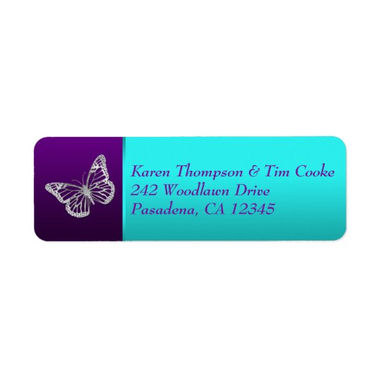 Purple Teal Silver Butterfly Return Address Label