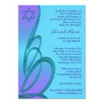 Purple Teal Star of David Bat Mitzvah Personalized Invite