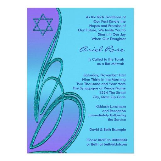 Purple Teal Star of David Bat Mitzvah Personalized Invitation