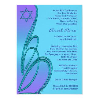 Purple Teal Star of David Bat Mitzvah 14 Cm X 19 Cm Invitation Card