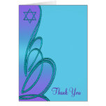 Purple Teal Star of David Thank You Card