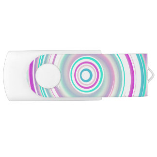 Purple & Teal Swirl - White 16 GB USB Flash Drive Swivel USB 3.0 Flash Drive