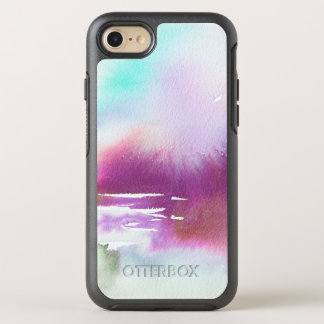 Purple Teal White Watercolor OtterBox Symmetry iPhone 8/7 Case