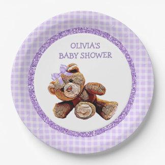 PURPLE Teddy Bear Baby Shower Paper Plates
