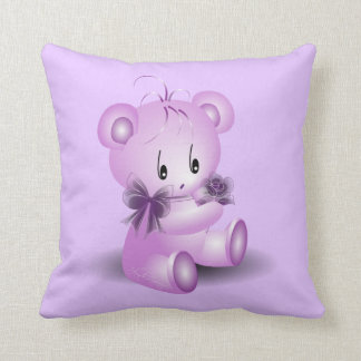 Purple Teddy Bear With Rose Throw Cushions