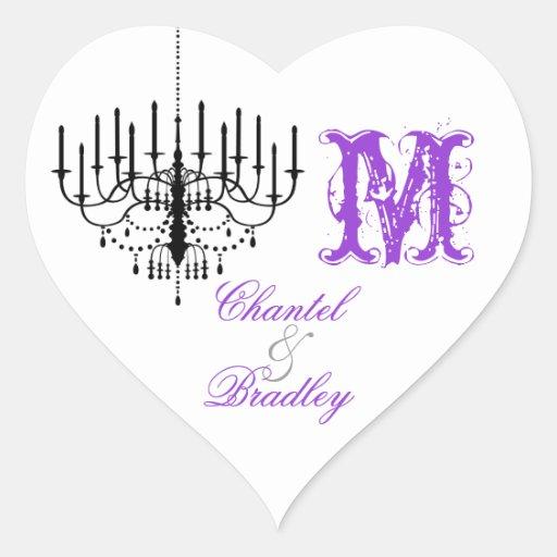 Purple Text Chandelier Monogram Custom Stickers