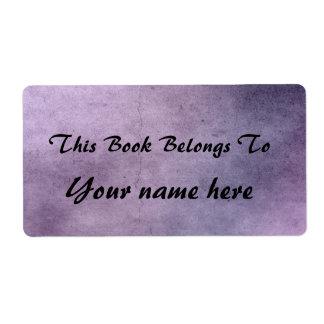 purple texture bookplate shipping label