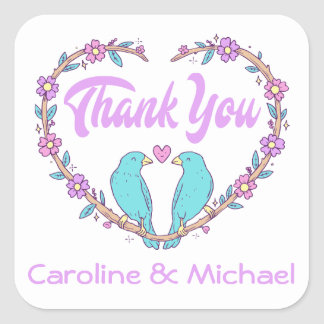 Purple Thank You Lovebirds Floral Heart Turquoise Square Sticker