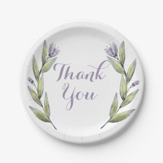 Purple Thank You Watercolor Flowers Leaves Laurel Paper Plate