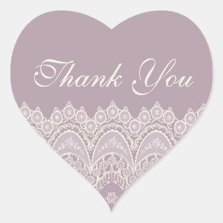 Purple Thank You Wedding Envelope Seals Heart Sticker