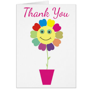 Purple Thank You Yellow Smiley Face Sunflower Card