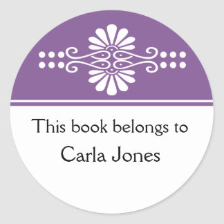Purple This Book Belongs To Labels Round Stickers