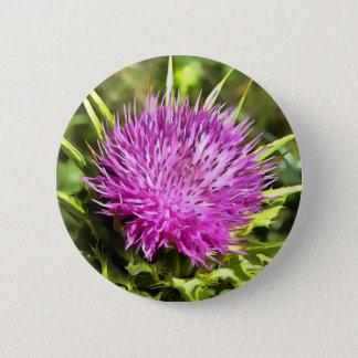 Purple Thistle Wildflower 6 Cm Round Badge