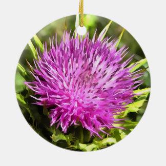 Purple Thistle Wildflower Ceramic Ornament
