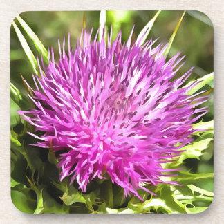 Purple Thistle Wildflower Coaster