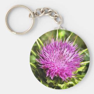 Purple Thistle Wildflower Key Ring