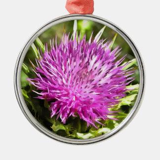 Purple Thistle Wildflower Metal Ornament