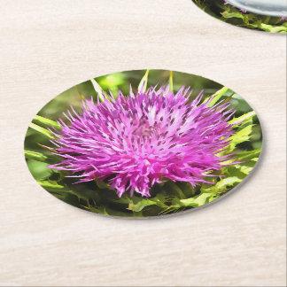Purple Thistle Wildflower Round Paper Coaster