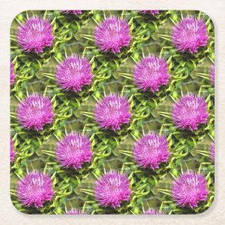 Purple Thistle Wildflower Square Paper Coaster