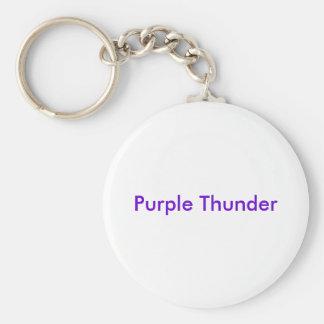 Purple Thunder Basic Round Button Key Ring