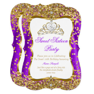 Purple Tiara Princess Sweet 16 Gold White Invite 2