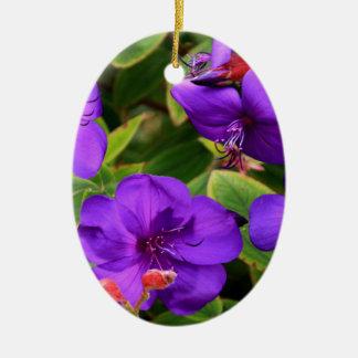 Purple Tibouchina Flowers Ceramic Ornament