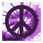 Purple Tie-Dye with Peace Symbol Personalized Invitation