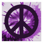 Purple Tie-Dye with Peace Symbol Posters