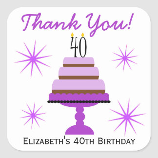 Purple Tiered Cake 40th Birthday Favor Stickers