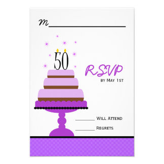 Purple Tiered Cake 50th Birthday Party RSVP Custom Invite