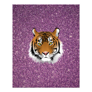 Purple Tiger with Glitter Background 11.5 Cm X 14 Cm Flyer