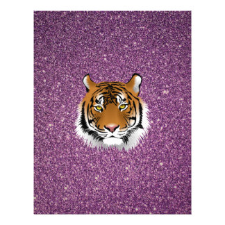 Purple Tiger with Glitter Background 21.5 Cm X 28 Cm Flyer