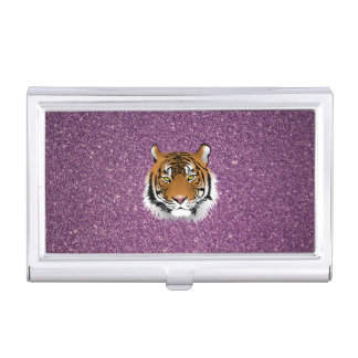 Purple Tiger with Glitter Background Business Card Holder