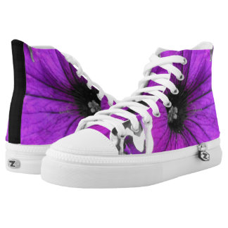 Purple Tinted Black and White Petunias High Tops