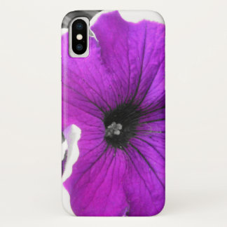 Purple Tinted Black and White Petunias iPhone X Case