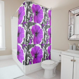 Purple Tinted Black and White Petunias Shower Curtain