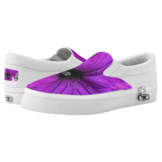 Purple Tinted Black and White Petunias Slip-On Shoes