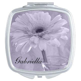 Purple Tinted Daisy Wedding Compact Mirrors
