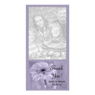 Purple Tinted Daisy Wedding Thank You Photo Greeting Card