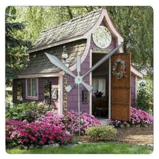 Purple Tiny House clock