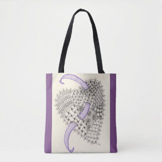 Purple Tote Bag with Doodle Art Heart