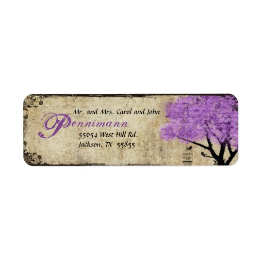 Purple Tree and Birds Return Address Label