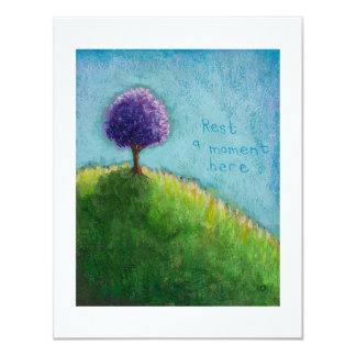 "Purple tree landscape art - rest a moment here 4.25"" x 5.5"" invitation card"